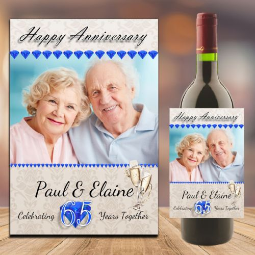 Personalised Sapphire 65th Wedding Anniversary PHOTO Wine / Champagne Bottle Label N93